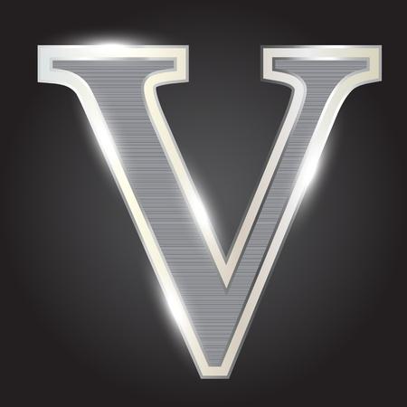 Silver metallic fonts vector illustration Illustration