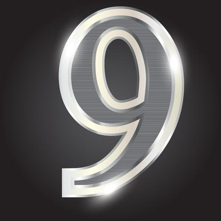 Silver metallic number  Illustration