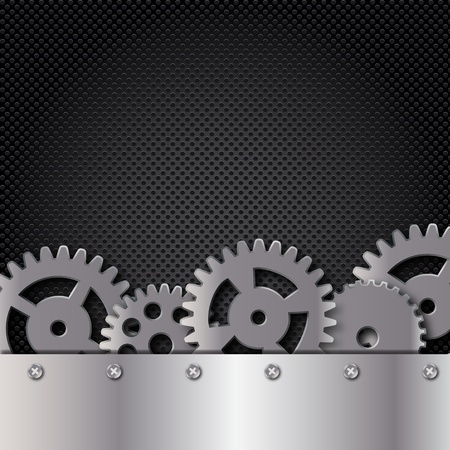 computer repair concept: Abstract metal and glass background with frame and gears. Vector illustration.
