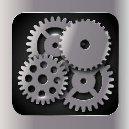 to rotate: Abstract metal and glass background with frame and gears. Vector illustration.