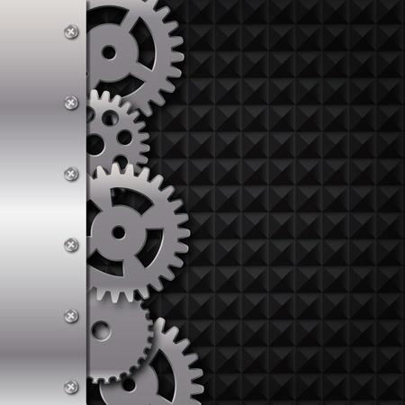 Abstract metaal en glas achtergrond met frame en tandwielen Vector illustratie Vector Illustratie