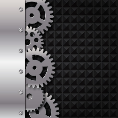 rotating parts: Abstract metal and glass background with frame and gears  Vector illustration  Illustration