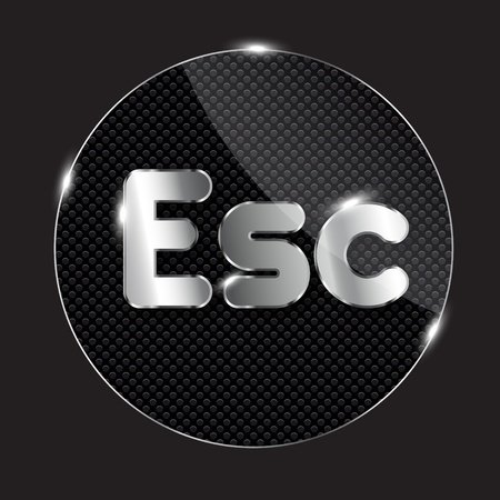 esc: glass button, vector illustration