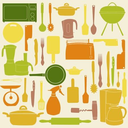 illustration of kitchen tools for cooking Illustration