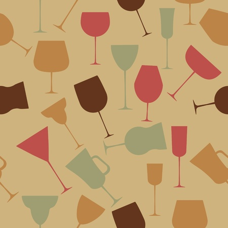 Seamless background pattern of retro alcoholic glass. Stock Vector - 13318258