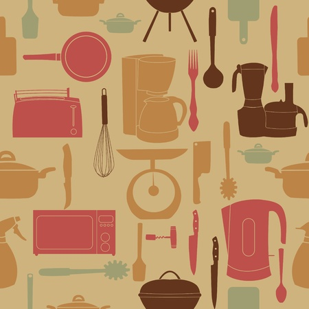 illustration seamless pattern of kitchen tools for cooking Vector