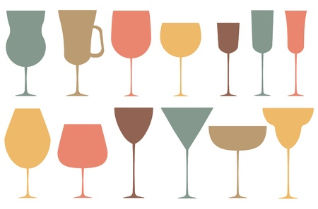 Set of black alcoholic glass  Vector