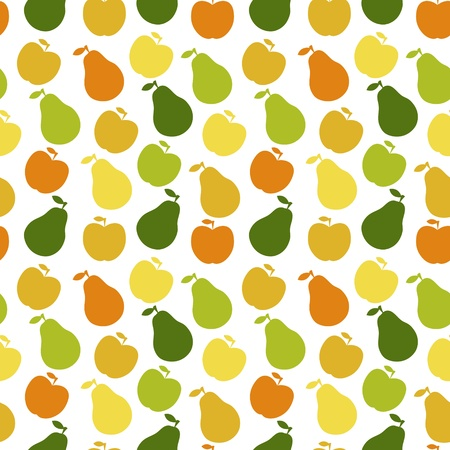 seamless pattern of fruit - apple and pear
