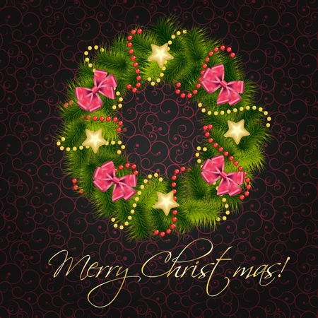 pine wreath: Realistic christmas wreath on vintage background Illustration