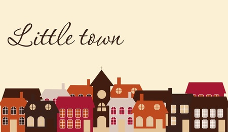 old town: Card with a beautiful little  town. Vector illustration
