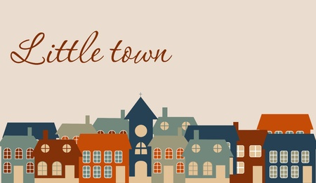 Card with a beautiful little  town. Vector illustration Stock Vector - 13334804