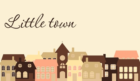 Card with a beautiful little  town. Vector illustration Vector