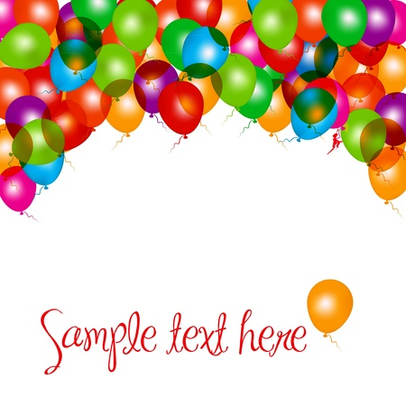 verjaardag frame: Ballonnen beeldcompositie op wit. Vector illustratie