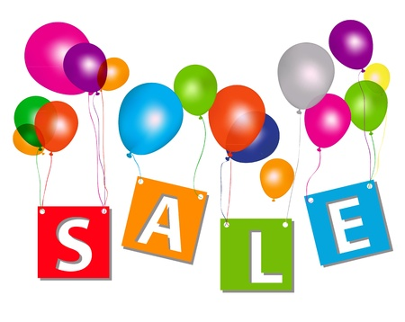 Balloons with sale letters   Concept of discount  Vector illustration