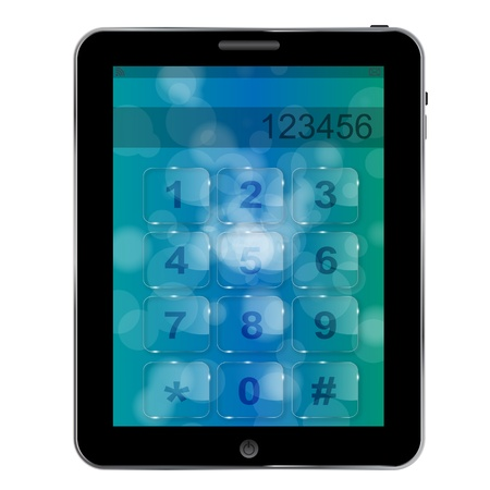 numbers icon: Universal design Tablet  with numbers icon, vector illustration