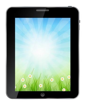 ecologic: Un Tablet PC ecol�gico ilustraci�n vectorial