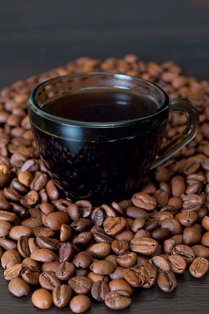 coffee beans in a cup on dark background Stock Photo - 13429111
