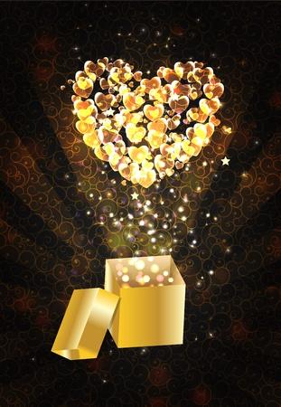 goldy: Magia Open Caja de regalo con el coraz�n, ilustraci�n vectorial
