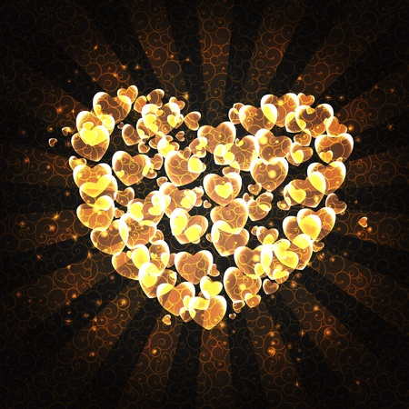 burning heart: burning heart with sparkles on a dark background
