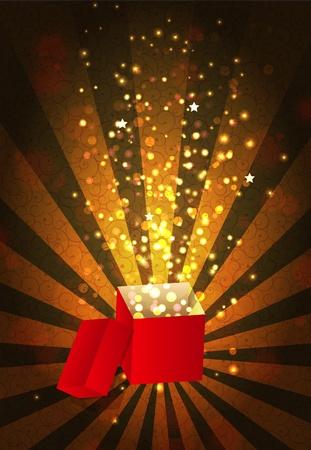 goldy: Abrir el cuadro de regalo la magia, ilustraci�n vectorial