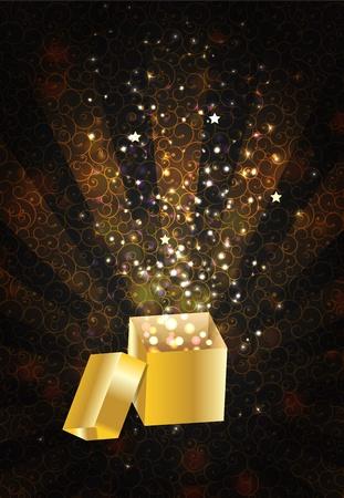 goldy: Open magic Gift box, vector illustration