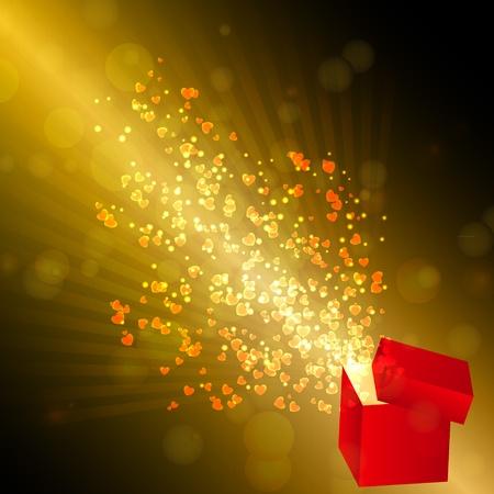 goldy: Abri� la caja de regalo con corazones de vuelo, tarjetas de San Valent�n. ilustraci�n vectorial