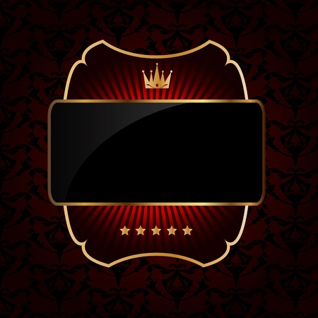aristocrático: Decorativo marco adornado vector de oro sobre fondo oscuro Vectores