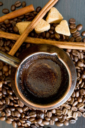 coffee beans in a cup on dark background Stock Photo - 13549136