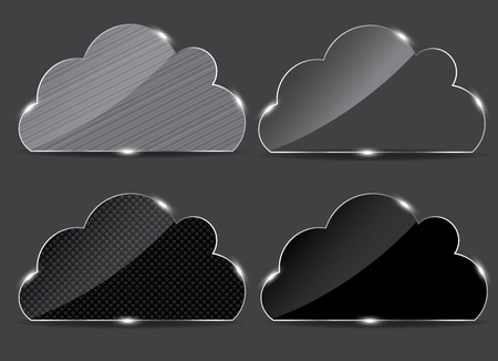 icloud: Vector glass button with cloud icon