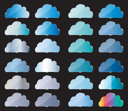 Vector glass button with cloud icon Stock Vector - 13549193
