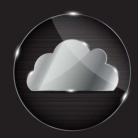 cloud industry: Vector glass button with cloud icon