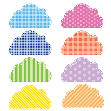 Different colored speech bubbles in  clouds style  Illustration