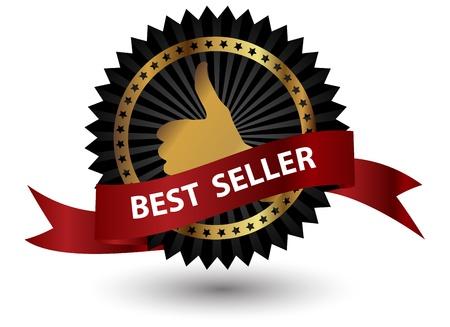vendedor: Vector Best Seller etiqueta con cinta roja. Foto de archivo
