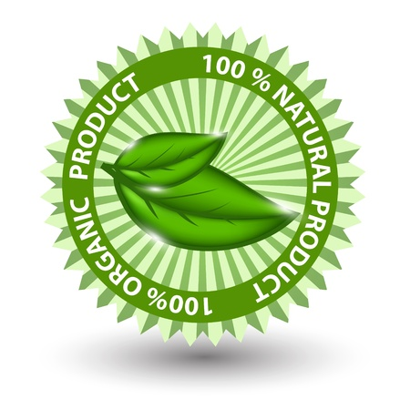 100% natural green label isolated on white Vector