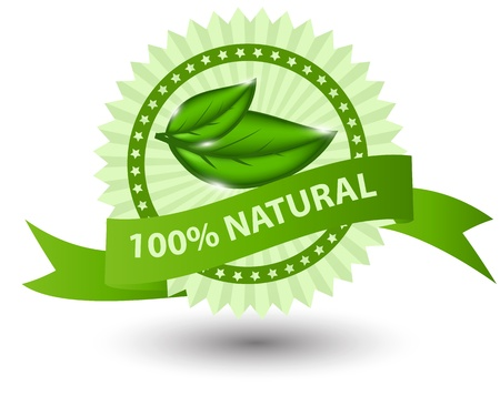 percentage: 100% natural green label isolated on white