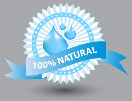 natural blue label illustration Stock Vector - 13651344