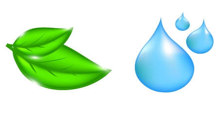 Water drop and plant icons Vector