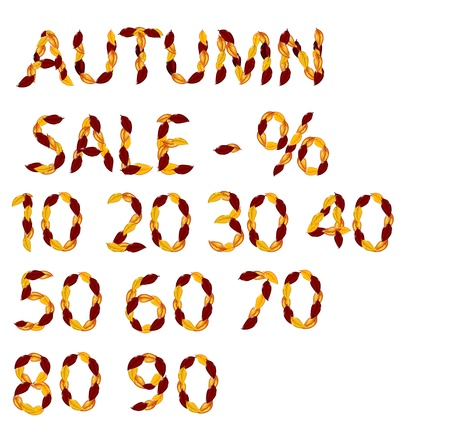 Autumn sale elements from leaves Vector
