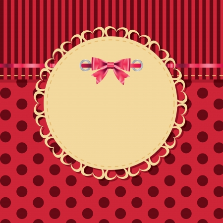 satin round: vintage frame with bow