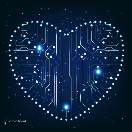 Circuit board with in heart shape pattern Stock Vector - 13758732