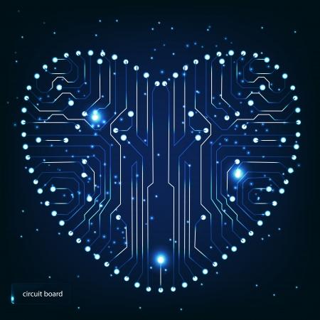 memory board: Circuitos de la placa con forma de coraz�n en el patr�n