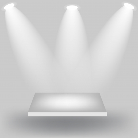 Empty white shelves on light grey background  Vector