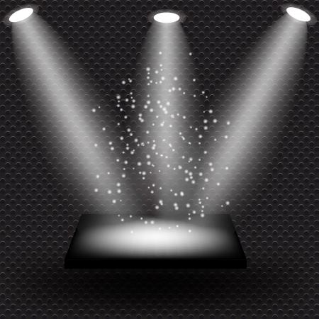 shelve: Empty black shelve on metal background with lights   Illustration