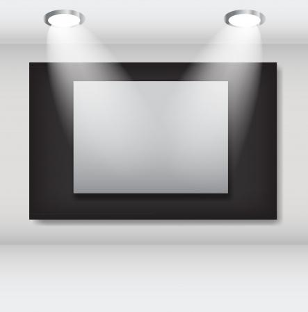 an exposition: Cornici bianche in illustrazione galleria d'arte ettore