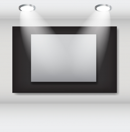 photo realistic: White frames in art gallery ector illustration Illustration