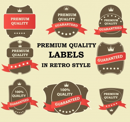Quality Labels in retro vintage design Vector