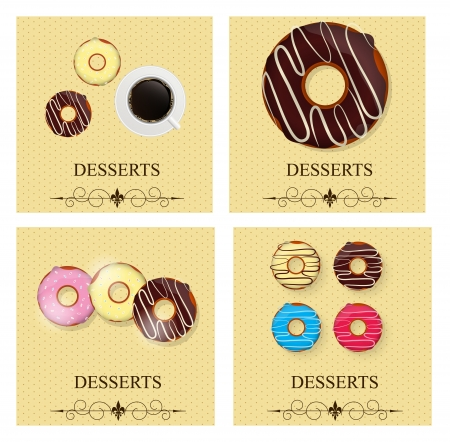 Set of the dessert menu  Vector