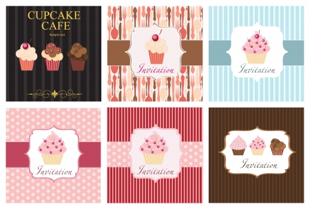 The concept of cupcakes cafe menu Vector