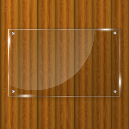 Glass frame on wood background Stock Vector - 13845350