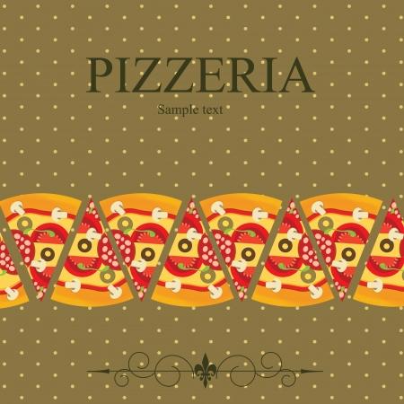 Pizza de plantillas de menú, ilustración vectorial